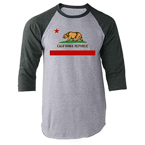 Pop Threads California Republic Calexit Flag Gray S Raglan Baseball Tee Shirt