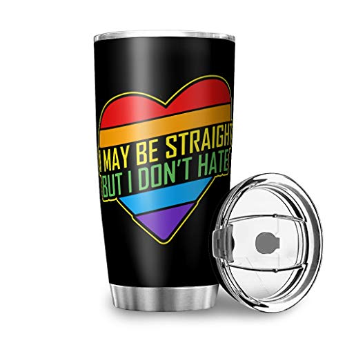 Dessionop Botella de agua de Tumbler con texto en inglés 'I May Be Straight But I Dont Hate Print', taza de 20 oz a prueba de fugas, tapa con bisagras, color blanco, 600 ml