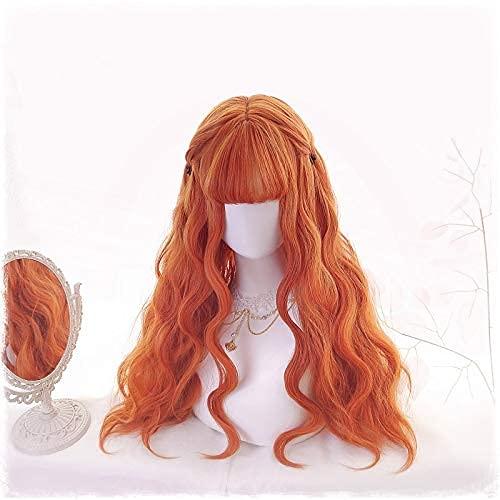 Peluca altamente restaurada 70 cm largo naranja lolita pelucas mujer pelo rizado cosplay peluca halloween harajuku pelucas resistente al calor pelo sintético peluca + peluca gorra Vale la pena comprar
