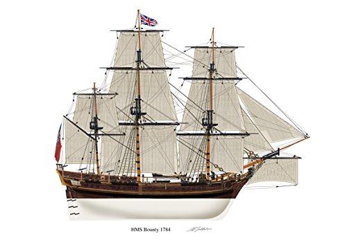 Perfil de nieve, diseño de barco HMS Bounty Vintage 1784 A5 brillante de diseño de la Armada británica barco británico firmada por Bligh motín