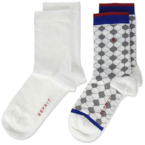 ESPRIT Kinder Socken Football 2-Pack, 0, 2 Paar, Weiß (White 2000), Größe: 31-34