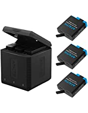 AFAITH GoPro laddare med 3-pack GoPro batterier, 3-kanals batteriladdningsförvaringslåda med 3 uppladdningsbart litiumjonbatteri + typ C-kabel för GoPro Hero 5 Hero 6 Hero 7 Hero 8 svart