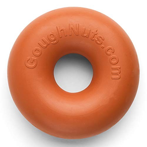 Goughnuts Original Medium Dog Chew Toy Ring for Aggressive Chewers from 30-70 Pounds in Orange. Durable Rubber Dog Chew Toy for Medium Breeds and Power Chewers
