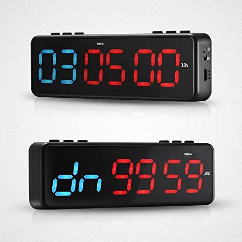 TTLIFE Temporizador de fitness magnético LED digital multifuncional portátil Cronómetro para gimnasio o casa control de aplicación de aumento y disminución de reloj con control remoto infrarrojo