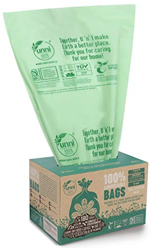 UNNI ASTM D6400 100% Compostable Trash Bags, 13 Gallon, 49.2 Liter, 50 Count, Heavy Duty 0.85 Mils,...