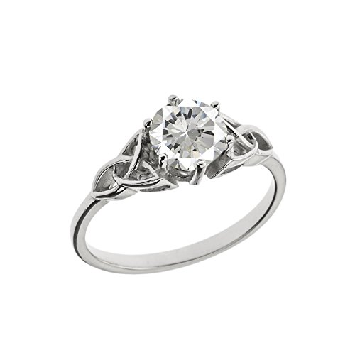 Dazzling Sterling Silver Personalized Birthstone Trinity Knot Engagement/Proposal Ring (Size 6)