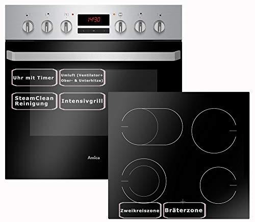 Amica Einbauherd Set | Backofen mit Grill und Umluft | Rahmenloses Glaskeramik Kochfeld mit Zweikreis und Bräterzone | Timer | Steam Clean | EHC 933 015 E