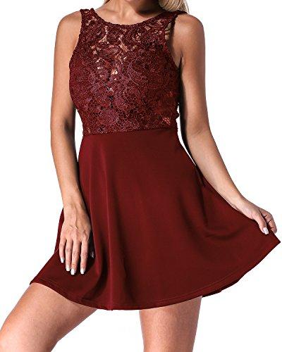 Auxo Damen Spitze Minikleid Ärmellos Rückenfrei Kurz Kleider Transparent Abend Brautkleid Cocktail Ballkleid Wein Rot* EU 36/Etikettgröße S