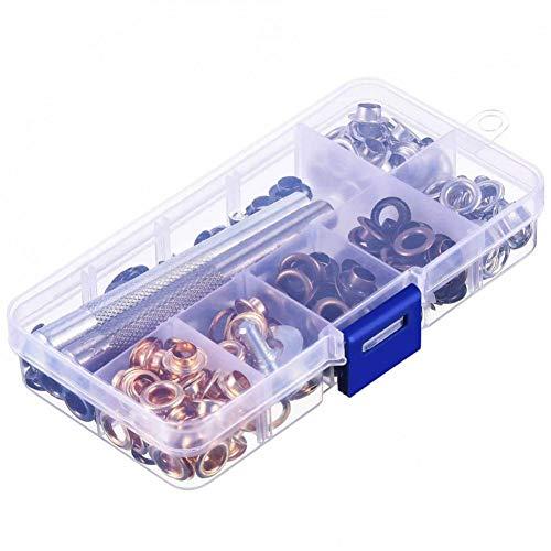 Kit de arandelas de 200 juegos 1/4 pulgadas, ojales de arandelas de 4 colores con 3 herramientas de instalación y caja de almacenamiento, fácil de usar para lonas, telas, ropa
