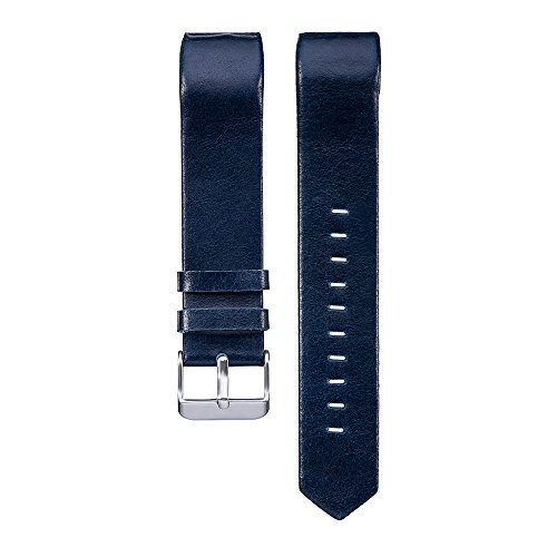 PINHEN für Fitbit Charge 2 Armband - Charge2 Echte Leder Armbänder Unisex Ersatzband mit Metall Konnektoren Fitbit Charge 2 (Dark Blue)