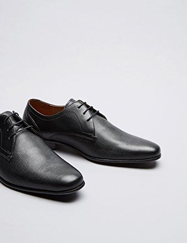 FIND Derby Schuhe Herren mit Blockabsatz, Schwarz - 4