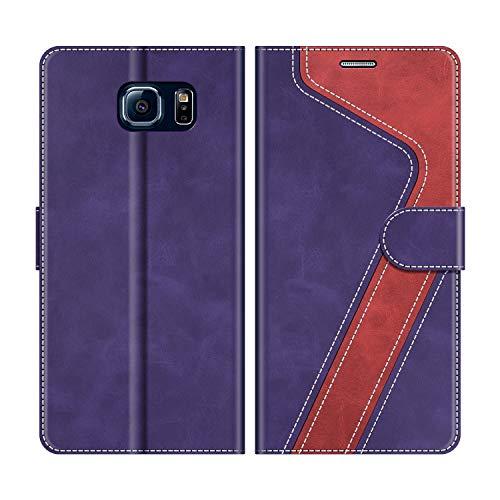 MOBESV Custodia Samsung Galaxy S6, Cover a Libro Samsung Galaxy S6, Custodia in Pelle Samsung Galaxy S6 Magnetica Cover per Samsung Galaxy S6, Viola/Rosso