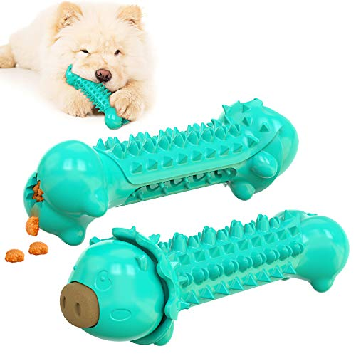 Dog Toothbrush Toy , Dog Chew Toys with Natural Rubber Care Chewing Cleaning Stick , Dog Teeth Cleaning Stick Bone for Dog Teeth Cleaning, Dog Teething Chew Toys for Dental Oral Care
