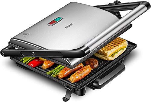 AICOK Kontaktgrill Sandwich Maker, 2000W Elektische Tischgrill mit Antihaftplatte und herausnehmbarer Tropfschale, Sandwich Toaster mit Edelstahloberfläche und Anzeige, Silver