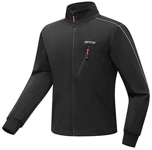 Wantdo Mens Cycling Running Jacket Waterproo Sportwear Winter Warm Coat Black XL