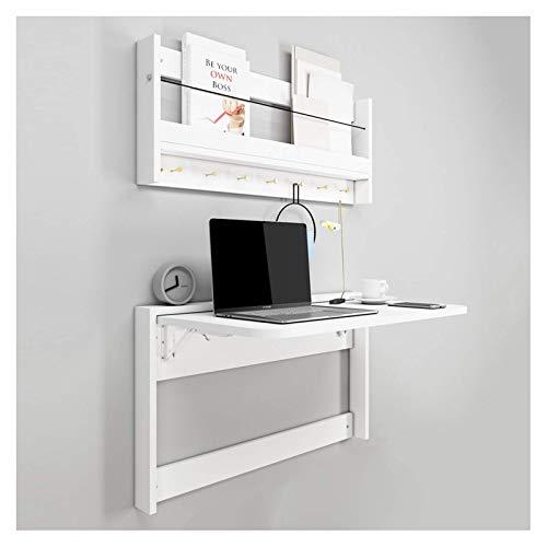 XiYou Mesa de Pared, Mesa Plegable de Pared con Estante, Escritorio Multifuncional para computadora portátil de Pared para Espacios pequeños, Uso de Oficina en casa, Blanco (L, Blanco)