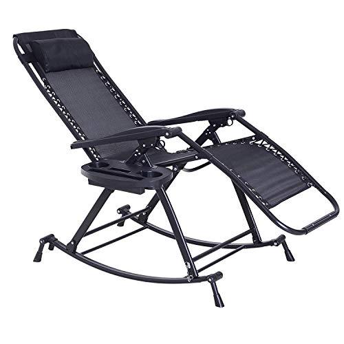 Tuinmeubelen/comfortabele tuinstoelen opvouwbare verstelbare ligstoel tuin ligstoel met kussen drankhouder ondersteunt 220 kg lichte campingstoel (kleur: zwart)