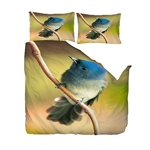 MEKVF Bedding Double Bed Duvet Cover 200x200cm Animal Bird Pure Blue Fairy Flycatcher 3D Bedding Duvet Printed Quilt Cover With Zipper Soft Microfiber Anti-Mite Bedding With 2 Pillowcases