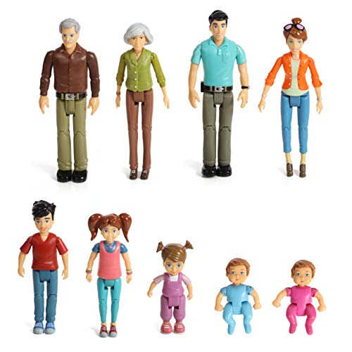 Sweet Li'l Family Set Dollhouse Figures 9 Action Figurines- Grandpa, Grandma, Mom, Dad, Sister, Brother, Toddler, Twin Boy & Girl- Super Durable & Updated 2019 Edition