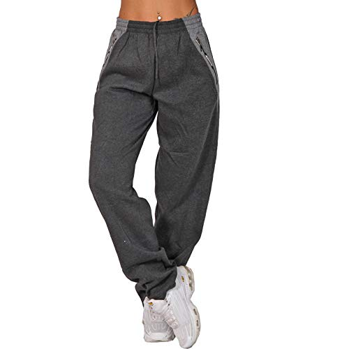 Candygirls High Waist Reißverschluss Thermo Jogging Hose Trainingshose Sporthose Fitness 8102 (Dunkelgrau, 44)