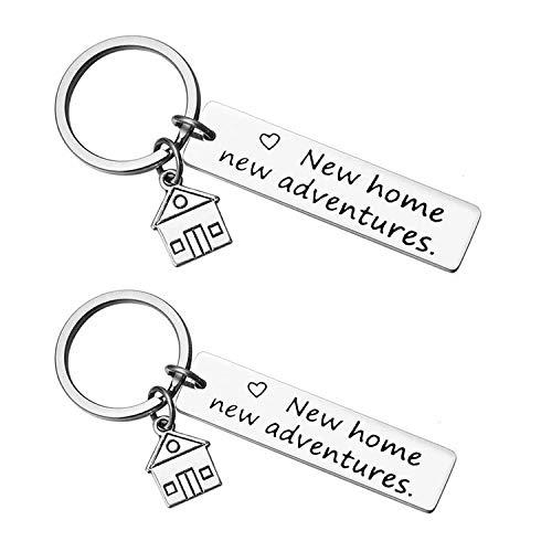 QUNNIE 2 confezioni portachiavi nuova casa nuove avventure, primo regalo di casa, regalo di inaugurazione della casa per moglie marito, regali di riscaldamento per coppia
