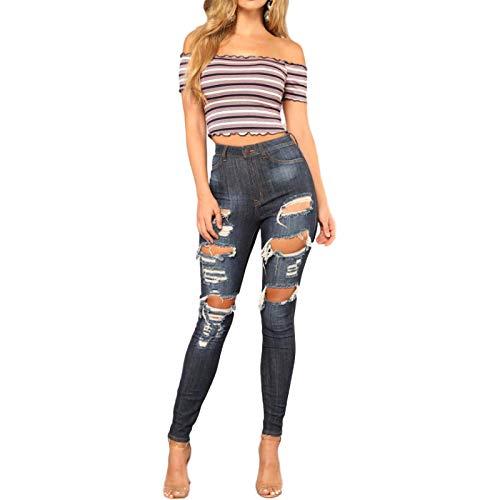 Damen Jeans Retro Cute Distressed Röhrenjeans Mode Mit Lochknopf Tasche Schlanke Komforthose, Mit Tasche S