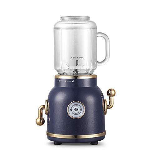 HYLK Retro Cooking Machine Electric Mini Juicer Juice Maker Smoothie Maker Blender & 1000Ml Portable Sports Bottles,for Milkshake,Fruit Vegetables,Grinder Coffee Bean Spice Seed Nut Herb,Blue