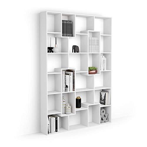 Mobili Fiver, Libreria M Iacopo (160,8 x 236,4 cm), Bianco Frassino, Nobilitato, Made in Italy, Disponibile in Vari Colori
