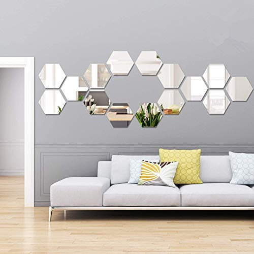 15 Pieces Hexagon Mirror Wall Stickers ,Acrylic Mirror Wall Sticker for Home Living Room Bedroom Decor (Large Size)