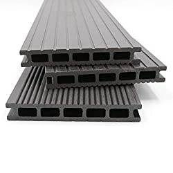 HORI® WPC decking Malta anthracite I complete set incl. 28x50 mm substructure & clips I plank length 4,40 m I area 24 m²