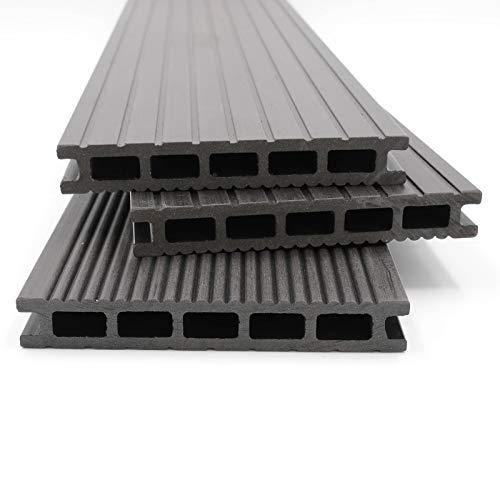 HORI® WPC-Terrassendielen Malta anthrazit I Komplett-Set inkl. 28x50 mm Unterkonstruktion & Clips I Dielenlänge 3,20 m I Fläche 14 m²
