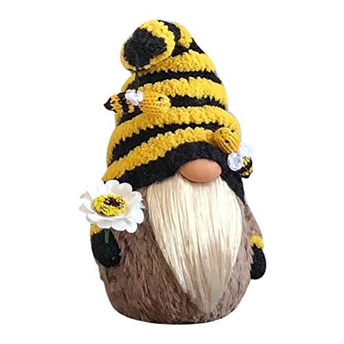 Eastleader Muñeca de abeja, decoración del día de la abeja, adornos sin rostro, de peluche, hecho a mano, regalo para niños y adultos, 20 x 15 x 8 cm