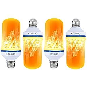 Pretigo-LED Flame Effect Light Bulb 4 Modes with Upside Down Effect E26 Base LED Bulb Flame Bulb for Christmas Home/Hotel/Bar Party Decoration(4 Pack)