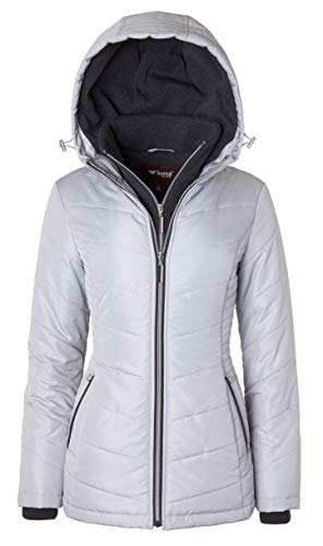 Women's Down Alternative Quilted Midlength Vestee Puffer Jacket with Fleece Hood - Pewter (Small)