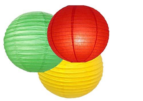 Linternas de papel mezcladas paquetes de 3 linternas redondas de papel para decorar fiestas (amarillo, rojo, verde, 40 cm)