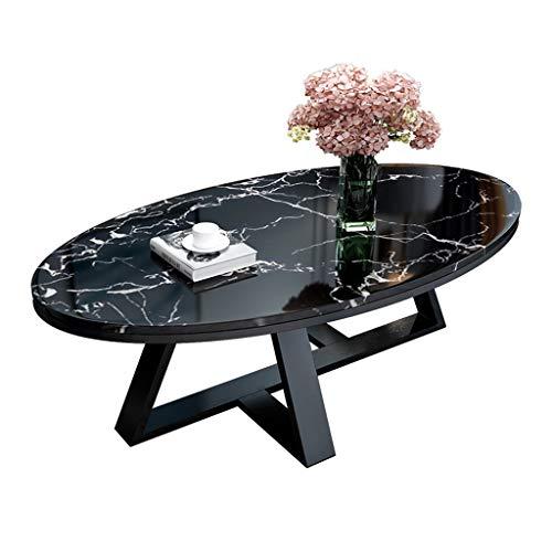 Meubles de Salon, Table Basse Ovale en marbre, Noir, Simple et Polyvalent