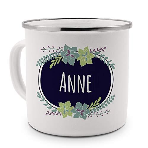 printplanet Emaille-Tasse mit Namen Anne - Metallbecher mit Design Flowers - Nostalgie-Becher, Camping-Tasse, Blechtasse, Farbe Silber