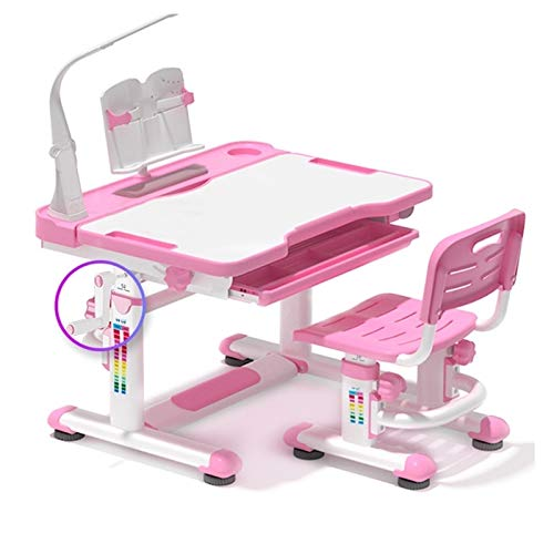 LYRWISHPB Children's Kids Study Schaquilla Set, Juego de Silla de Mesa Ajustable for niños Junior Girls Boys Tabla de Estudio con la Reserva de Lectura for la Sala de Estudio Estudiante de la Escuela ⭐