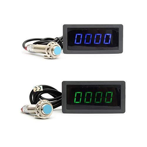 WY-YAN Azul Verde 4 tacómetro Digital LED Velocidad RPM Metro + Interruptor de proximidad Sensor de 12V Promoción (Color : 1pcs Blue)