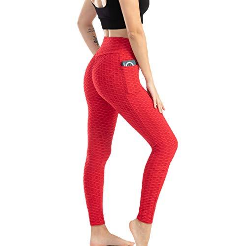 Dinapy Pantalones de yoga de cintura alta con bolsillos, leggings para gimnasio, control de barriga, levantamiento de glúteos, adelgazamiento, absorbentes del sudor, pantalones para correr
