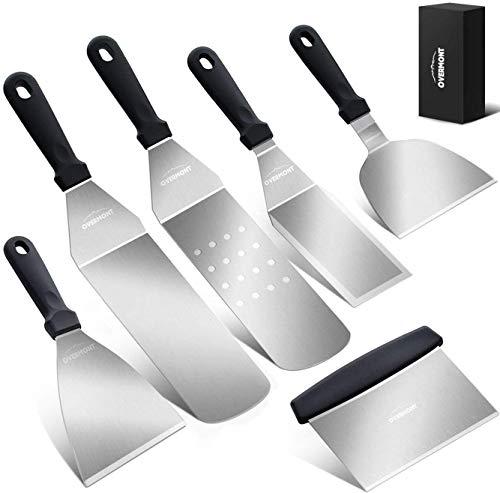 Overmont Grillspachtel Grillbesteck Set Grillwender BBQ Werkzeugset Edelstahl 6Pcs für Outdoor und Indoor
