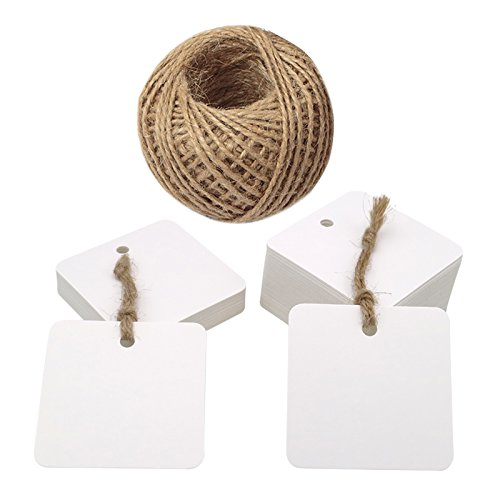 100PCS 5.5cm Square Gift Tags, Kraft Paper Tags Labels with Jute Twine 30 Meters Long for Hang Tags, Luggage Tag, Price Tags, DIY Tags (White)