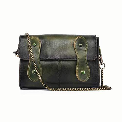 A-hyt Cómoda y cómoda bolsa de hombro para mujer, estilo retro, sin complicaciones, con cadena de minifalda de fácil senderismo (color: verde, tamaño: 20 x 14 x 6,5 cm)
