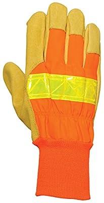 Bellingham C5570IL High-Visibility Knit Wrist Leather Palm Construction Gloves