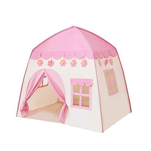 Tienda de campaña de poliéster para jardín, bonito tipi para interior y exterior, para niños, regalo de cumpleaños, princesa, gran juego, fantasía portátil (rosa)