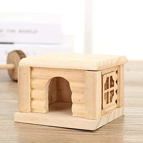 QSXF Hamster Nest Flachdachhaus Kabine Hamster Spielzeug Holzhaus Hamster,Beige