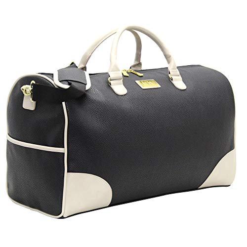 Nicole Miller New York Designer Duffel Bag Collection - Lightweight 21 Inch Travel Tote for Men & Women - Weekender Overnight Gym Carry On Suitcase (Sharon City Black)