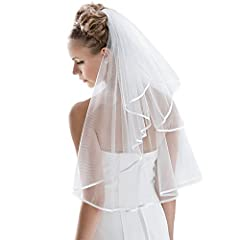 ♥Wedding Veil♥ - Perfect for Bachelorette Hen Party bridal gowns, cosplay. ♥♥ -The satin edge is a subtle highlight and fits any wedding dress and provides a super elegance. ♥Professionally made from soft Tulle♥ With a small comb for pinning.Fabric i...