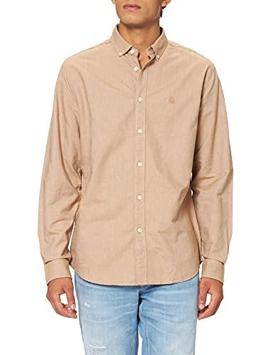 Springfield Camisa Oxford Solid Organic, Tostado, XL para Hombre