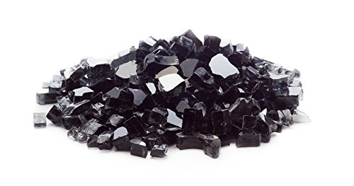 Exotic Fire Glass | Black Reflective Fire Pit Glass | 25 Pound Bag | Medium 1/2 Inch Glass Size | Perfect for Any Natural Gas or Propane Outdoor Fire Pit